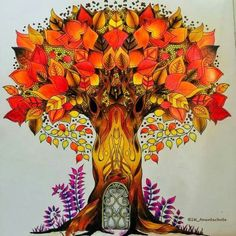 Enchanted Forest Coloring book. Tree