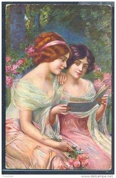 Postkaarten > Thema's > Illustratoren & fotografen > Illustrators… Nostalgic Images, Joy Of Life, Victorian Women, Belle Epoque, Vintage Postcards, True Love, Art Nouveau, Salons, Vintage Ladies