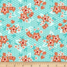 Moda Sweet Marion Dotty Garden Robin's Egg  from @fabricdotcom  Designed by April Rosenthal for Moda, this cotton print fabric features colorful spring blooms on a subtle polka dot pattern. Perfect for quilting, apparel and home decor accents. Colors include white, peach, coral and shades of blue.