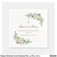Megan Christian Cross Greenery Wedding Cocktail Napkins