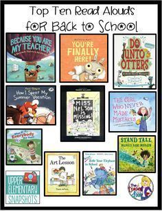 Top Ten Read Alouds for Back to School. This is a collection of book titles for classroom teachers to read on the first day of school or the first week of school. The list is perfect for 1st grade, 2nd grade, 3rd grade, 4th grade, and 5th grade as well as families to read at home. Check out the detailed post at the Upper Elementary Collaborative Blog.