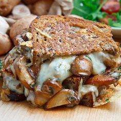 Had to pin this because I made it tonight and it was amazing. So worth the time it takes to make the mushrooms nice and brown and the cheese is not unlike the cheese on a croque monsieur but with thyme in it. Yummy! Mushroom Grilled Cheese Sandwich (aka The Mushroom Melt) :)