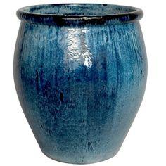Large Ceramic Planter - Blue   Scenario Home