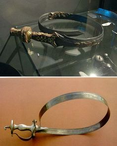 Two examples of rolled urumi showing the typical curved blade Whip Sword, Cartier Love Bracelet, Love Bracelets, Bangles, Triumph Rocket, Indian Sword, Martial Arts Weapons, L5r, Survival Life