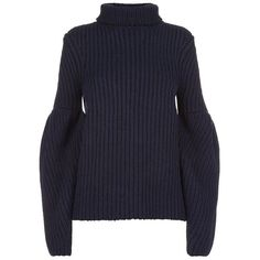 Victoria Beckham Bouclé Bubble Sleeve Turtle Neck Sweater (80.065 RUB) ❤ liked on Polyvore featuring tops, sweaters, jumper, long sleeves, shirts, long sleeve sweater, blue sweater, long sleeve jumper, oversized turtleneck sweater and blue long sleeve shirt