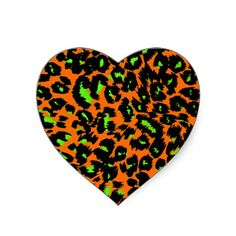 Green Leopard Spots on Orange Sticker