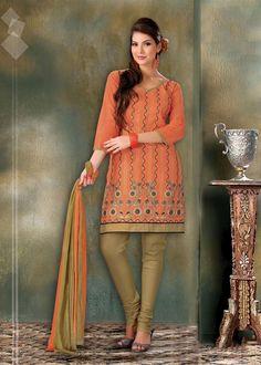 $32.15 Orange Cotton Embroidery Churidar Salwar Kameez 23337