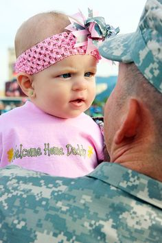 Another pin reminded me of this homecoming photo I took. The dad had been away the entire lifetime of his little girl.