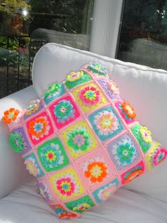 Colourful Crochet Cushion Pillow Flowers In A Granny by LillyBev