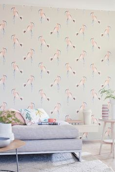 This fun wallpaper by Scion features quick ink-sketched flamingo outlines, coloured in with expressive brushstrokes which gives them a light fluffy-feathered feel. Flamingo Wallpaper, Marimekko Wallpaper, Peach Wallpaper, Harlequin Wallpaper, Cole And Son Wallpaper, Wallpaper Ideas, Hallway Wallpaper, Dining Room Wallpaper, Scion Fabric
