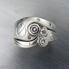 Custom designed wedding set in 14k white gold with diamonds by Douglas Fine Jewelry Design