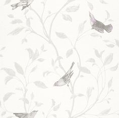 Tendresse wallpaper 798975 by Rasch. Delicate silvery birds flutter amongst leafy branches on a white background adding charm to this pretty wallpaper. Wallpaper available from Guthrie Bowron. Wallpaper Sydney, Wallpaper For Sale, Power Wallpaper, 2015 Wallpaper, Wallpaper Online, Blue Wallpapers, Pretty Wallpapers, Designer Wallpaper, Contemporary Wallpaper