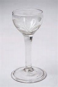 18th century Mead glass, George 11, English, folded foot, cup bowl, circa 1740-50.  Mead is Honey Wine, made from Honey, water and Yeast, It could be the oldest alcoholic drink.