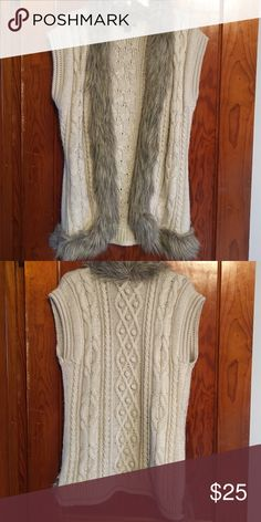 Cozy Fur Cardigan This is a beautiful open cardigan by Nine West. It is trimmed along the front with faux fur. Nice with work pants or jeans & boots! Size L. Excellent condition! Nine West Sweaters Cardigans