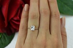 50% off 1 ct Promise Ring Engagement Ring Radiant Man Made