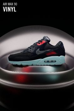 "Nike Air Max 90 ""Vinyl"" BlackCool Grey Teal Tint University Red For Sale"