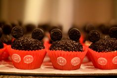 Mickey Mouse Birthday Party or add pink bow, pink cupcake cups, and remove buttons for Minnie Mouse