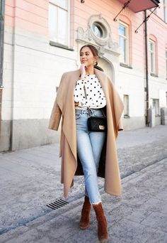 f4f657b236c Camel coat + denim + brown ankle boots  streetstyle  womensfashion  ootd   outfits