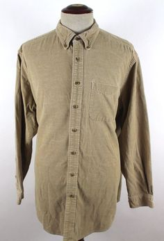 LL Bean Corduroy Shirt Button Front Casual Cotton size XLT Tall 259828 L/S Mens #LLBean #ButtonFront