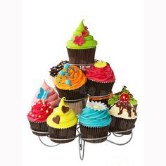 Buy Cupcake stand by RuthBlack on PhotoDune. Colorful cupcakes on a cakestand Fondant Cupcakes, Fancy Cupcakes, Buttercream Cake, Cupcake Rosa, Cupcake Party, Christmas Tree Cupcakes, Metal Christmas Tree, Crates, Deserts