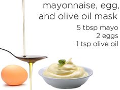 Treat and manage split ends! Make this mask by mixing 5 tablespoons of mayo with two whole eggs. Beat those two ingredients together until smooth and add a teaspoon of olive oil at the end. Apply to your hair and apply heat with a blow dryer for 20 minutes, then shampoo and condition as usual.
