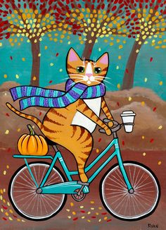 Autumn Ginger Fat Cat on a Bicycle Original Folk Art Painting by KilkennycatArt