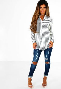 Get Shirty White and Navy Stripe Long Sleeve Shirt