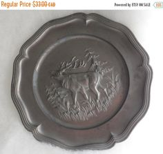 On Sale Vintage 1950's PEWTER BRAYING STAG Wall Plaque by BYGONERA