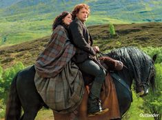 Claire in tartan with Jamie on horse