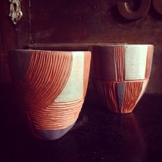 Terracotta hand carved cups by cobaltandkin.com