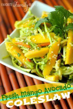 Fresh Mango Avocado Coleslaw from favfamilyrecipes.com - Delicious, fresh, and full of flavor!