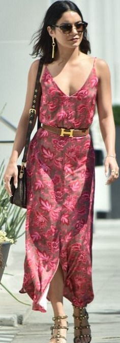 Vanessa Hudgens in Dress – Zimmermann  Purse -Louis Vuitton  Shoes – Valentino  Belt – Hermes  Jewelry – Vita Fede