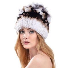 e33649e1885840 Queenfur Rabbit Fur Hat - Winter Fashion Knit Hats Women Real Fur Warm  Skullies Beanie (