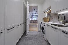 Hayden and Sara Challenge apartment Laundry reveal The Block 2018 Modern Laundry Rooms, Laundry Room Bathroom, Shared Bathroom, Beige Couch, The Block Kitchen, The Block Bathroom, The Block Australia, Image Deco, Laundry Room Inspiration