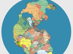 Pangea with current political boundaries.
