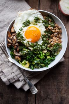 Farro Bowl With Shiitakes + Winter Greens   in pursuit of more