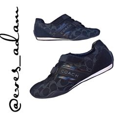 Authentic Coach Monogram Sneakers These authentic coach monogram sneakers (JENNEY) are a must have!!! Has black background with grey monogram. They are preloved but have a lot of life left in them. Very little staining on outside and in really good condition. Has Velcro straps. Does not come with a shoe box but, I Will wrap them up all pretty for you  please be reasonable with offers. Coach Shoes