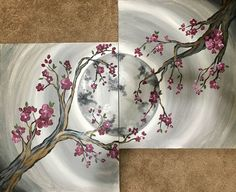 Join us at Pinot's Palette - Westminster on Wed Feb 2018 for Cherry Blossom Moon - Date Night. Seats are limited, reserve yours today! Simple Acrylic Paintings, Cool Paintings, Acrylic Painting Canvas, Beautiful Paintings, Couple Painting, Love Painting, Painting & Drawing, Paint And Sip, Paint Party