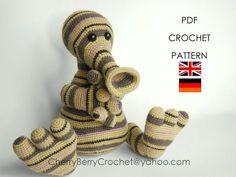 Pitu stripy monster PDF Crochet Toy Pattern by CherryBerryCrochet