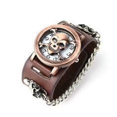 Eeleva Punk Gothic Ladies Women Men Gens' Genuine Leather Wrist Watch: Watches: Amazon.com