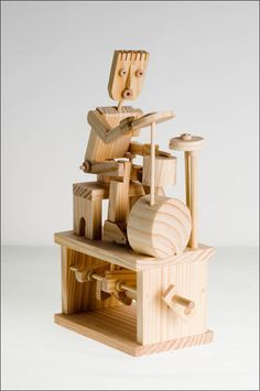 Drummer - balsa wood toys Grandpa Paul would've liked this