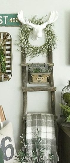 Love this idea but would use a pig or rabbit head instead Farmhouse Design, Farmhouse Decor, Farmhouse Style, Coral Living Rooms, Vintage Apartment Decor, Rabbit Head, Blanket Ladder, Remodeling Mobile Homes, Decorating Your Home