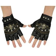 Minibee Men's Fingerless Stud Metal Skull+Chain Gloves Cycling Rock Gothic Punk Style gloves a pair (Black  Pure) Minibee http://www.amazon.com/dp/B00W95GR88/ref=cm_sw_r_pi_dp_bMnmvb0VTC76C