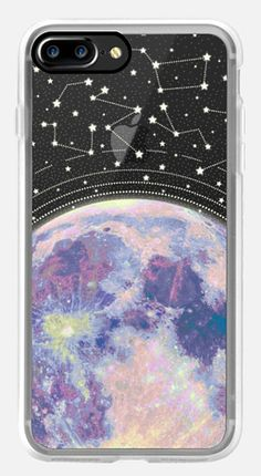 Casetify iPhone 7 Case and Other iPhone Covers - Blue moon and stars constellations / galaxy pattern clear background case by MARTA OLGA KLARA | #Casetify #clearcase #stars #galaxy #moon #pastel #universe