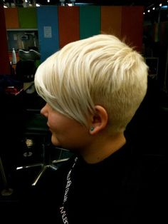 Blonde pixie - very long bangs, very short back-- I like but wonder if I would like it as much with dark hair... I can not do blonde