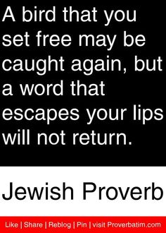 A bird that you set free may be caught again, but a word that escapes your lips will not return. - Jewish Proverb #proverbs #quotes