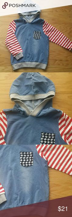 NWOT Denim with stripes Hoodie Jeans/Denim hoodie with white and red stripes and a pocket.  Very nice for school.  Fits 5T - 6T ??  This item is brand new and never used Shirts & Tops Sweatshirts & Hoodies