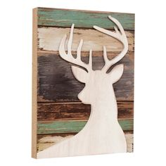 Deer Wood Silhouette Wall Art - Exclusive - A cream stag silhouette contrasts with weathered finishes on this wood wall art with a charming vintage look. Measures 11 x 1 x 15 ~ Wooden Wall Art Panels, Large Wood Wall Art, Reclaimed Wood Wall Art, Wooden Wall Decor, Hanging Wall Art, Weathered Wood, Wall Hangings, Black Forest Decor, Feather Wall Art