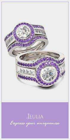 Jeulia 3PC Amethyst Halo Round Cut Created White Sapphire Wedding Set #Jeulia