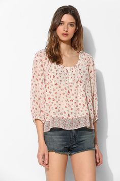 Lucca Couture Print-Mix Chiffon Blouse